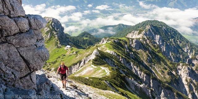 Natterriegel - Im Aufstieg zum Natterriegel, der letzten Gipfelmöglichkeit der Runde durchs Gesäuse. Foto: Iris Kürschner