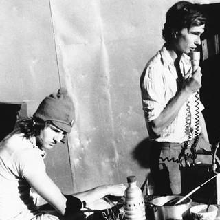Vor der Leschaux Hütte, um 1975. Foto: Reinhard Karl, Eva Altmeier, Heidelberg / Archiv des DAV, München