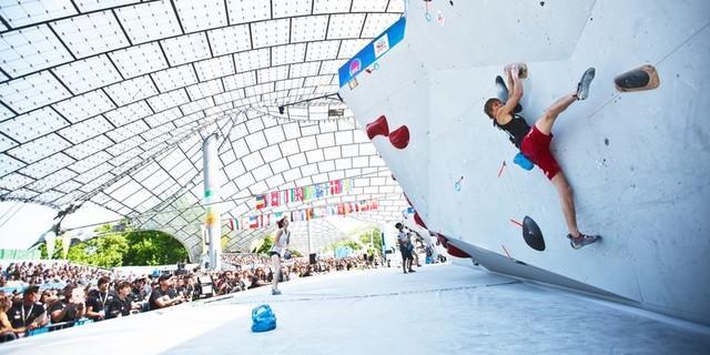 Boulderweltcup 2019 im Münchner Olympiastadion, Foto: DAV/Vertical Axis