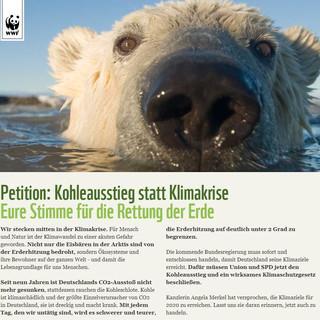 Petition unterstützen: www.wwf.de/kohlefrei