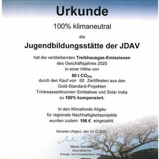 Zertifizierung klimaneutral; Foto: Jubiarchiv