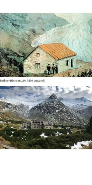 Der Vergleich zeigt den Gletscherrückgang eindrücklich: Im Aquarell steht die Berliner Hütte im Jahr 1879 direkt neben dem Hornkees, im aktuellen Bild ist die Gletscherzunge (links oben im Bild) schon weit entfernt. Foto: ÖAV-Gletschermessdienst/Friedrich