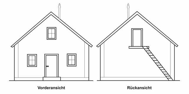 Plan Höllentalangerhütte. Vorder- Rückansicht