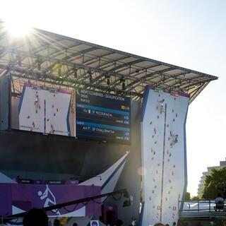 Die Bühne im Aomi Sports Park; Foto: IFSC/Leo Zhukov