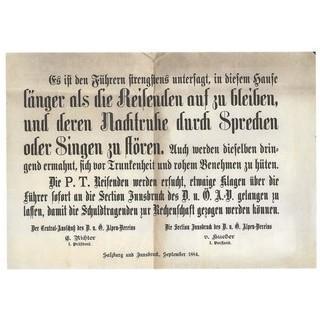 Verhaltensmaßnahmen für Bergführer, 1884. Archiv des ÖAV, Innsbruck