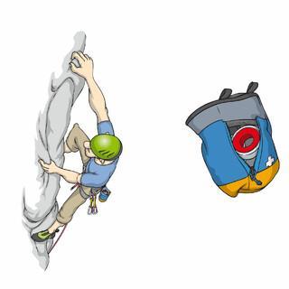 Clevere Idee beim Klettern in Mehrseillängenrouten: Chalkbag mit integriertem EH-Set.