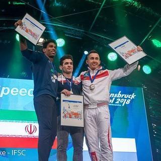 Die Medaillisten der Speed-WM (Foto: Eddie Fowke - IFSC)
