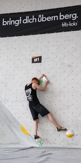 Für Max Prinz lief es beim Bouldern diesmal nicht so gut. Foto: DAV/Marco Kost