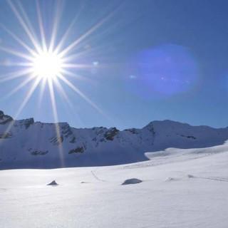 Der Gletscher, die Sonne und ich: meditative Momente auf der letzten Etappe, Foto: Stefan Herke