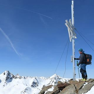 Gipfelkreuz der Kraspesspitze, dem Hausberg der Schweinfurter Hütte. Foto: Stefan Herbke