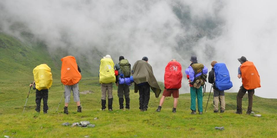 Bergtour im Nebel; Foto: Jubiarchiv/Behrendes