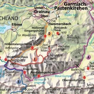 Karte - Jubiläumsgrat Route E. Karte Copyright Christian Rolle.