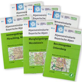 Die DAV-Kartenreihe BY besteht aus 22 + 1 Karten. Foto: DAV