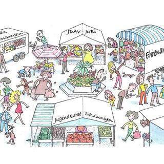 Der virtuelle Marktplatz des BJLT 2021, Zeichnung: Sebastian Schrank