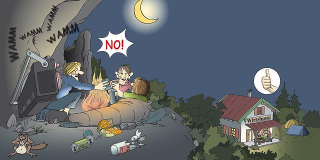 Übernachtung: Lokale Angebote nutzen! Zeichnung: Sojer