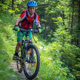 Junger Mountainbiker auf einem Trail, Foto: JDAV/Silvan Metz