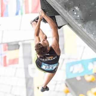 Yannick Flohé beim Boulderweltcup 2017 in München. Foto: DAV/Nils Nöll