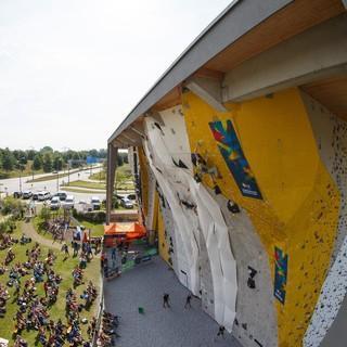 Die imposante Wand des Kletterzentrums Freimann. Foto: DAV/Marco Kost