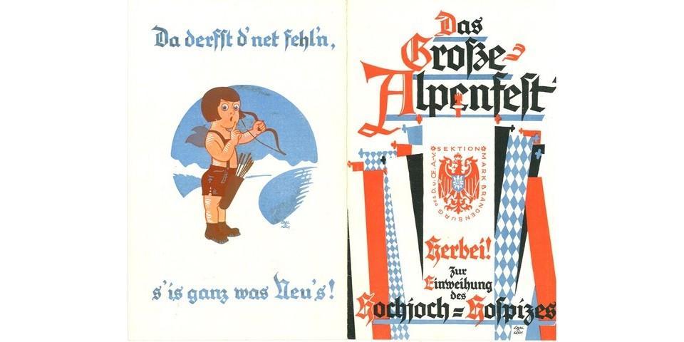 Einladung zum Großen Alpenfest und Weihfeier des neuen Hochjochhospizes der Sektion Mark Brandenburg, 1928. Archiv des DAV, München