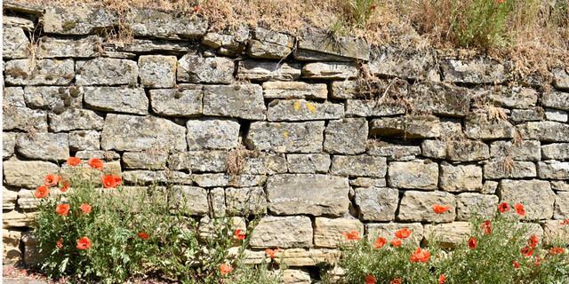 Manchmal zieren schöne Bruchsteinmauern den Weg. Foto: Günter Kromer