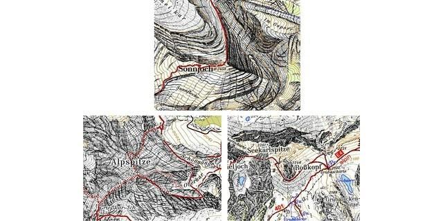 Oben: Künstlerische Felsdarstellung von Aegerter/Rohn, Unten links: Haarstrich-Felszeichnung von Ebster, Unten rechts: Künstlerische Felsdarstellung von Nelles (geprägt von Imhof). Bild: DAV