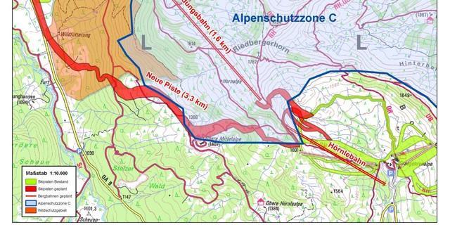 Die geplante Seilbahn liegt komplett in der Alpenschutzzone C, teilweise auch die Piste.
