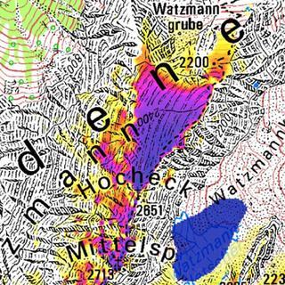 Permafrost am Watzmann (Quelle: PermaNet&#x3B; LfU)