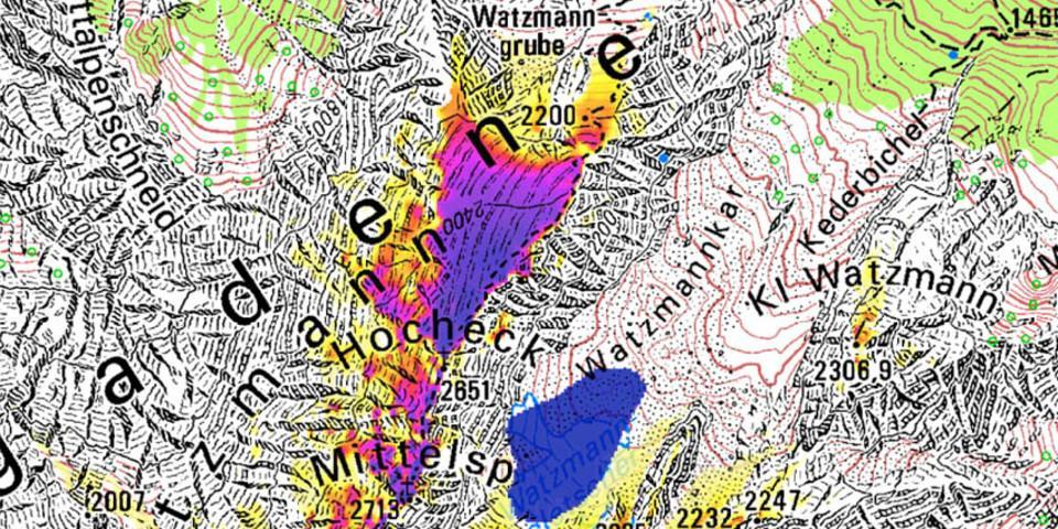 Permafrost am Watzmann (Quelle: PermaNet; LfU)