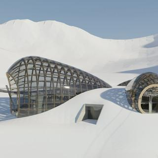 Das geplante Skizentrum unterhalb des Mittelbergferners. (Foto: Baumschlager Hutter Partners)
