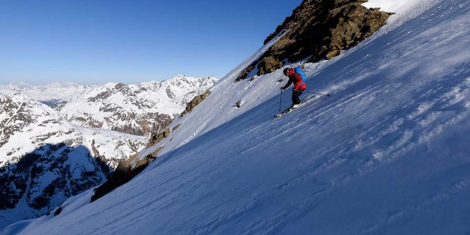 steile Abfahrt vom Kuchenjöchli, Foto: Wolfgang Ehn