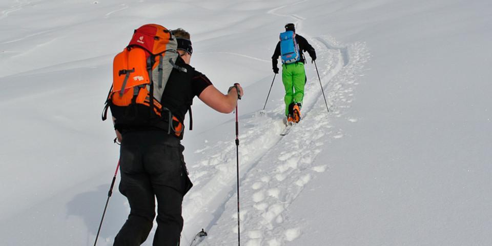 … und über freie, weite Südhänge in gemäßigter Steigung zum Gipfel. Foto: Thilo Brunner