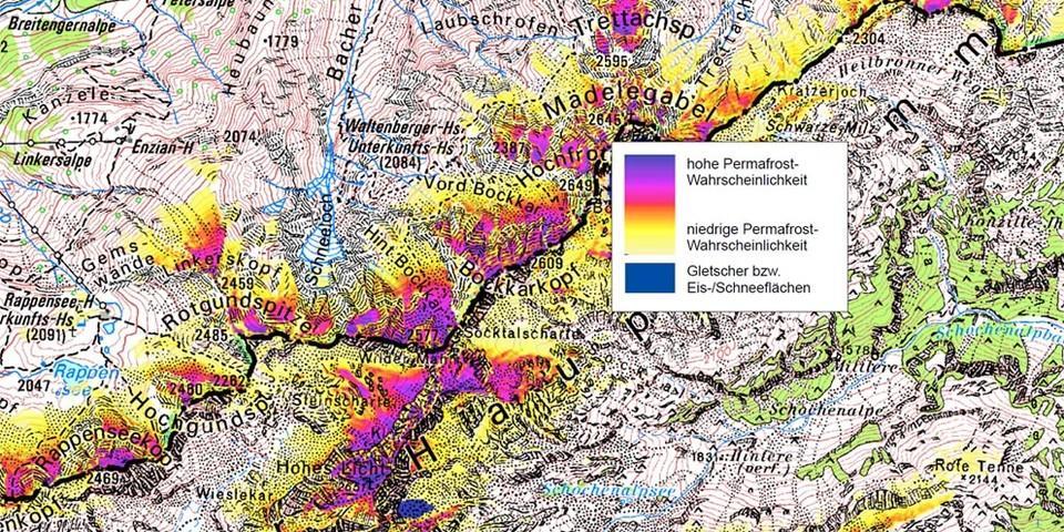 Permafrost in den Allgäuer Hochalpen (Quelle: PermaNet; LfU)