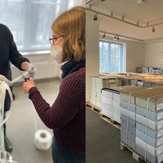 Vorbereitung der Archivkartons für den Umzug. Foto: Sophie Schuster de Lima