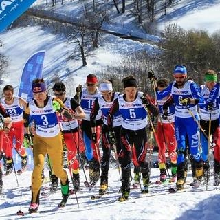 Start beim Vertical-Race im Weltcup 2016 der Skibergsteiger, Foto: ISMF