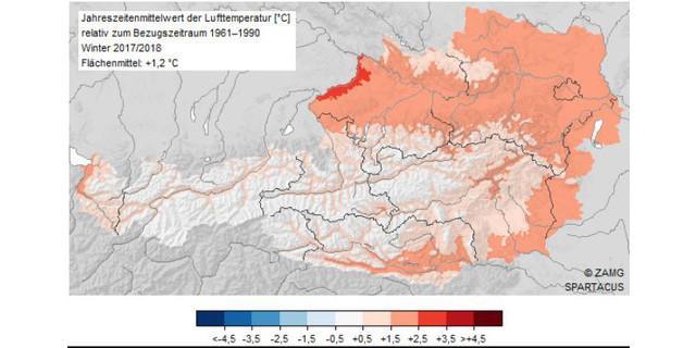 Die Wintertemperatur 2017/2018 in Österreich im Vergleich zum Mittel 1961-1990. Quelle: ZAMG