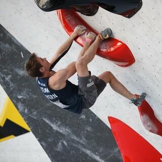 Der Deutsche Bouldermeister Philipp Martin bei der DM Bouldern 2020. Foto: DAV/Marco Kost