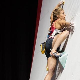 Die frisch gekürte Boulder-Weltmeister Petra Klingler.
