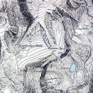 Ausschnitt der Originalzeichnung für die Alpenvereinskarte Langkofel- und Sellagruppe von Leo Aegerter um 1903. Original im Alpinen Museum auf der Praterinsel. Foto: DAV Archiv