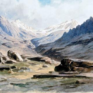 Der Pass Kiungar von Adolph Schlagintweit 1855; Foto: DAV/Alpines Museum