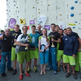 Strahlende Gesichter beim deutschen Paraclimbing Team in Imst