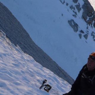 """In der Eiswand, """"Vivagel"""", Aiguille Verte, Montblancmassiv, Frankreich"""