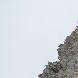 Am Monte Enciastraia - Alpinistenfreuden: Am Monte Enciastraia weht der Wind die Felle vom Ski.