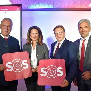 Innnenminister Joachim Herrmann, Landwirtschaftsministerin Michaela Kaniber, Günther Platter (Landeshauptmann Tirol), Arnold Schuler (Landeshauptmann-Stellvertreter Südtirol)