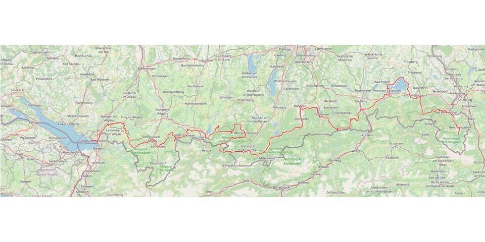 Streckenverlauf vom Bodensee zum Königsee