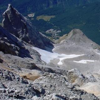 Schneekar - Tiefblick vom Ausstieg der Route am Südwestgrat.