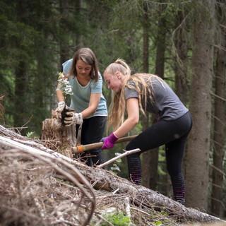 Zwei Jugendliche bei der Anpflanzung im Wald, Foto: JDAV/Silvan Metz