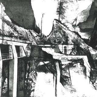 Johannes Birkhölzer, Einschnitte II: Bei Versam, 1988, Aquatinta Radierung