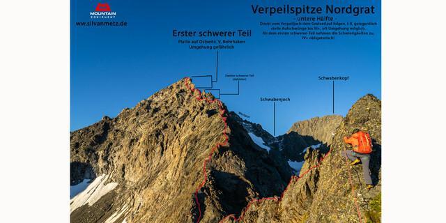 Untere Hälfte des Nordgrats der Verpeilspitze. Grafik: Silvan Metz