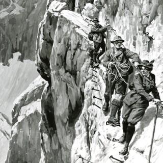 Ernst Platz. Am Brett, Abstieg von der Zugspitze ins Höllental, Grisaille, um 1900. Alpines Museum, München
