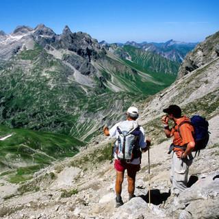 Blick vom Krottenkopf zum Heilbronner Weg, Allgäuer Alpen, Bayern, Deutschland